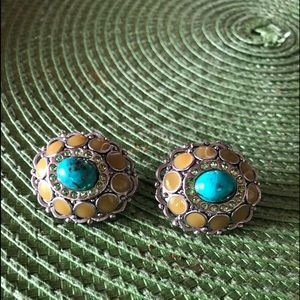 Vintage Turquoise, Amber, & Crystals Clip Earrings